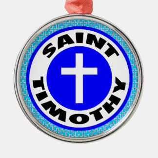 Saint Timothy Silver-Colored Round Decoration