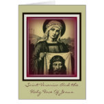 saint veronica and the holy face of jesus greeting card