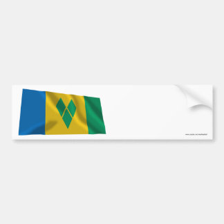 Saint Vincent and the Grenadines Waving Flag Bumper Sticker