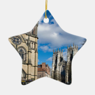 Saint Wilfrids and York Minster. Ceramic Star Decoration