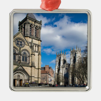 Saint Wilfrids and York Minster. Silver-Colored Square Decoration