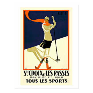 Sainte Croix Les Rasses Ski Sports Travel Postcard