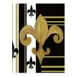Saints Black and Gold Fleur de lis Postcards