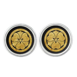 Sakai Mon Japanese samurai clan faux gold on black Cuff Links