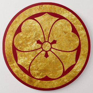 Sakai Mon Japanese samurai clan faux gold on red 6 Cm Round Badge