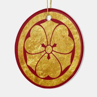 Sakai Mon Japanese samurai clan in faux gold Christmas Ornament