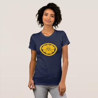 Sakai Mon Japanese samurai clan yellow on blue T-Shirt
