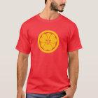 Sakai Mon Japanese samurai clan yellow on red T-Shirt
