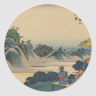 Sakanoshita, Oriental Art Classic Round Sticker