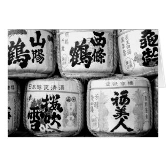 Sake Casks in Black and White Card