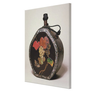 Sake flask inlaid with mother of pearl canvas print