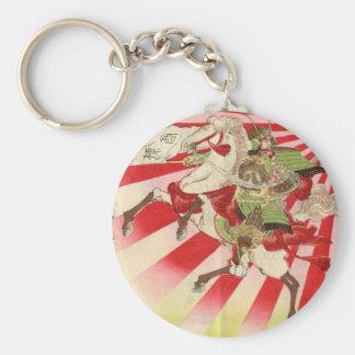 Sake for a Samurai Vintage Woodblock Print Basic Round Button Key Ring