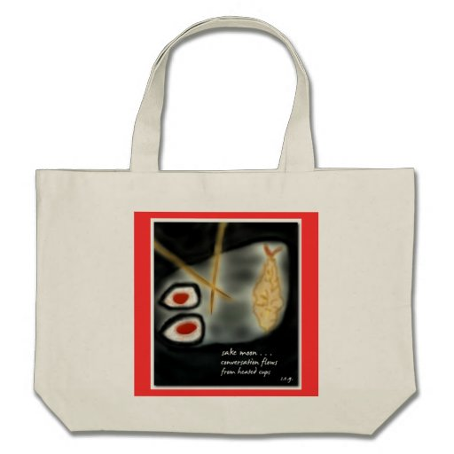 Sake Moon Japanese Haiku Art Tote Canvas Bag