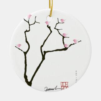 sakura and 7 pink birds 1, tony fernandes round ceramic decoration