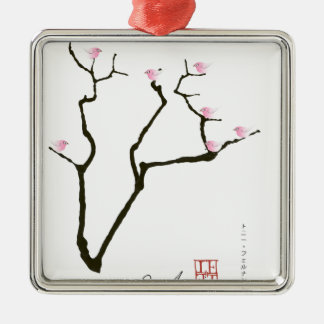sakura and 7 pink birds 1, tony fernandes Silver-Colored square decoration