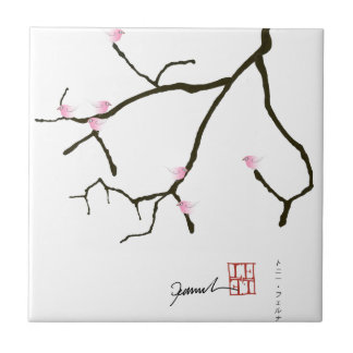 sakura and 7 pink birds 2, tony fernandes small square tile