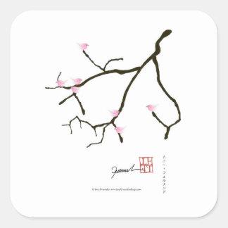 sakura and 7 pink birds 2, tony fernandes square sticker
