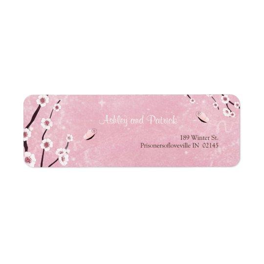Sakura and Love Butterflies Adress Label