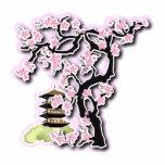 Sakura and Pagoda Japanese Design Key Chain Photo Cutout