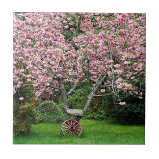 Sakura and Wagon Wheel Ceramic Tile