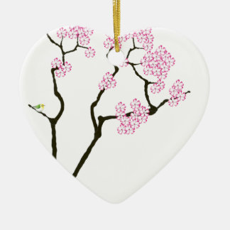 sakura bloom white eye bird, tony fernandes christmas ornament