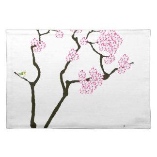 sakura bloom white eye bird, tony fernandes placemat