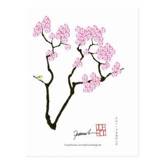 sakura bloom white eye bird, tony fernandes postcard