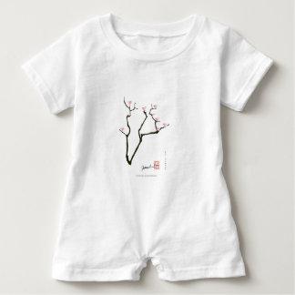 sakura blossom and pink birds, tony fernandes baby bodysuit