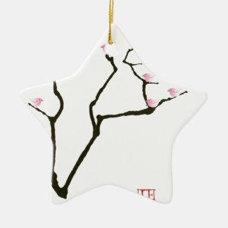 sakura blossom and pink birds, tony fernandes christmas ornament