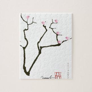 sakura blossom and pink birds, tony fernandes jigsaw puzzle