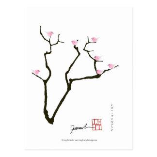 sakura blossom and pink birds, tony fernandes postcard