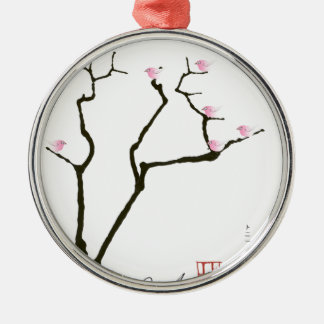 sakura blossom and pink birds, tony fernandes Silver-Colored round decoration