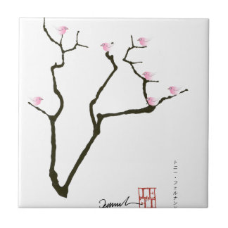 sakura blossom and pink birds, tony fernandes small square tile
