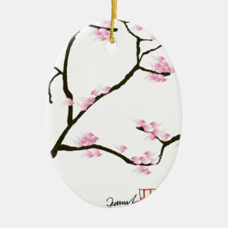 sakura blossom with pink birds, tony fernandes ceramic oval decoration