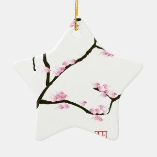 sakura blossom with pink birds, tony fernandes ceramic star decoration