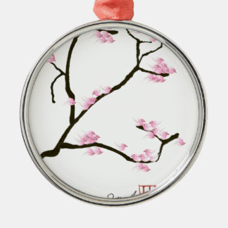 sakura blossom with pink birds, tony fernandes Silver-Colored round decoration