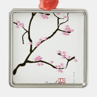 sakura blossom with pink birds, tony fernandes Silver-Colored square decoration