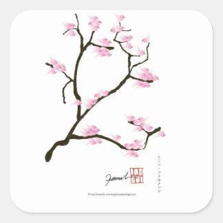 sakura blossom with pink birds, tony fernandes square sticker