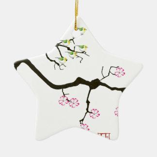 sakura blossoms with birds, tony fernandes christmas ornament