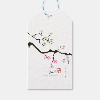 sakura blossoms with birds, tony fernandes gift tags
