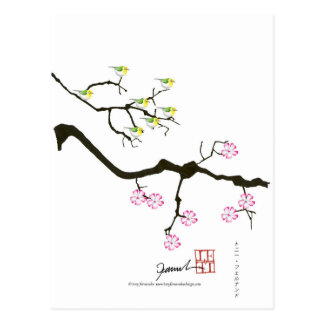 sakura blossoms with birds, tony fernandes postcard