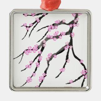 Sakura Cherry Blossom 20,Tony Fernandes Silver-Colored Square Decoration