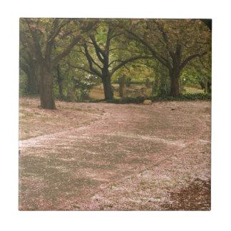 Sakura Cherry Blossom Path Small Square Tile