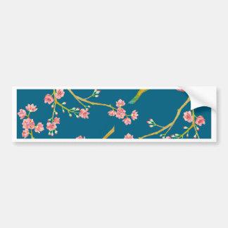 Sakura Cherry Blossom Print on Blue Bumper Sticker