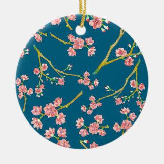 Sakura Cherry Blossom Print on Blue Round Ceramic Decoration