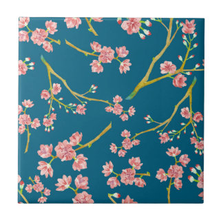 Sakura Cherry Blossom Print on Blue Small Square Tile