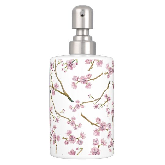 Sakura Cherry Blossom Print Soap Dispenser And Toothbrush