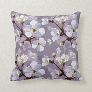 Sakura Cherry Blossoms Gray White Brown Neutral Throw Pillow