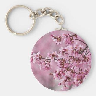 Sakura Cherry Blossoms Pastel Pink Layers Basic Round Button Key Ring