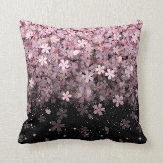 Sakura Cherry Blossoms Pink & Black Flowers Throw Pillow